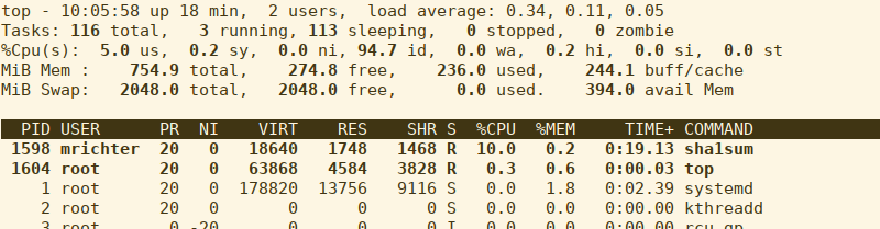 start up foo.exe, which will gulp as much CPU as it can get and then check top