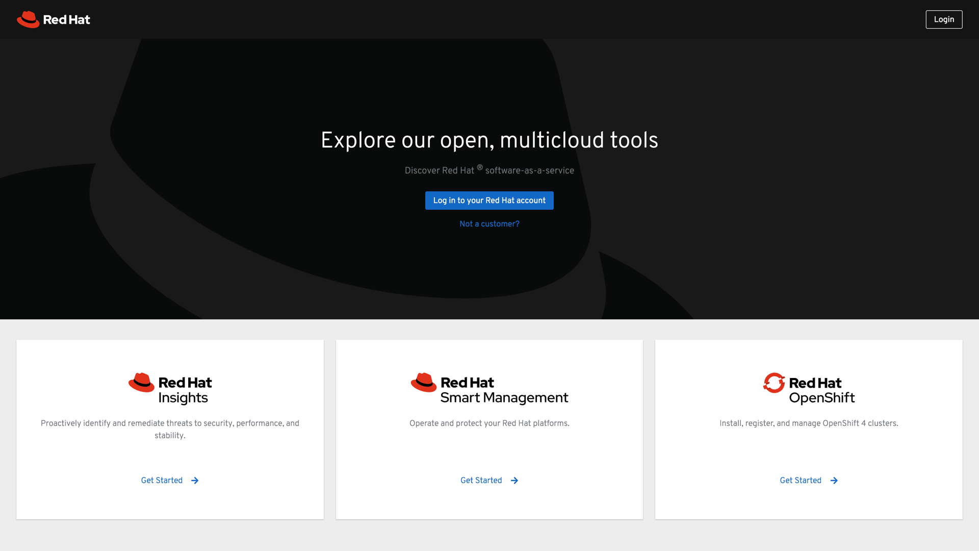 Get started page for Red Hat Cloud