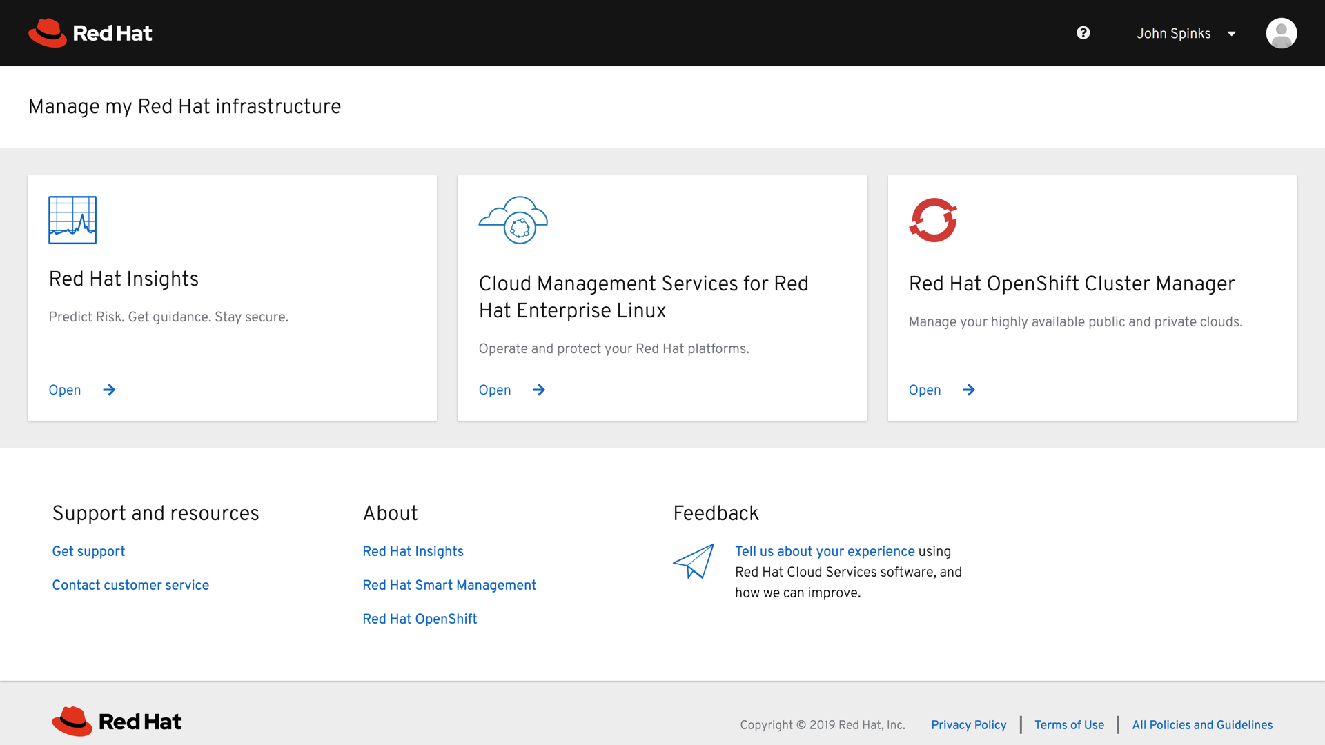 Red Hat Insights Management page