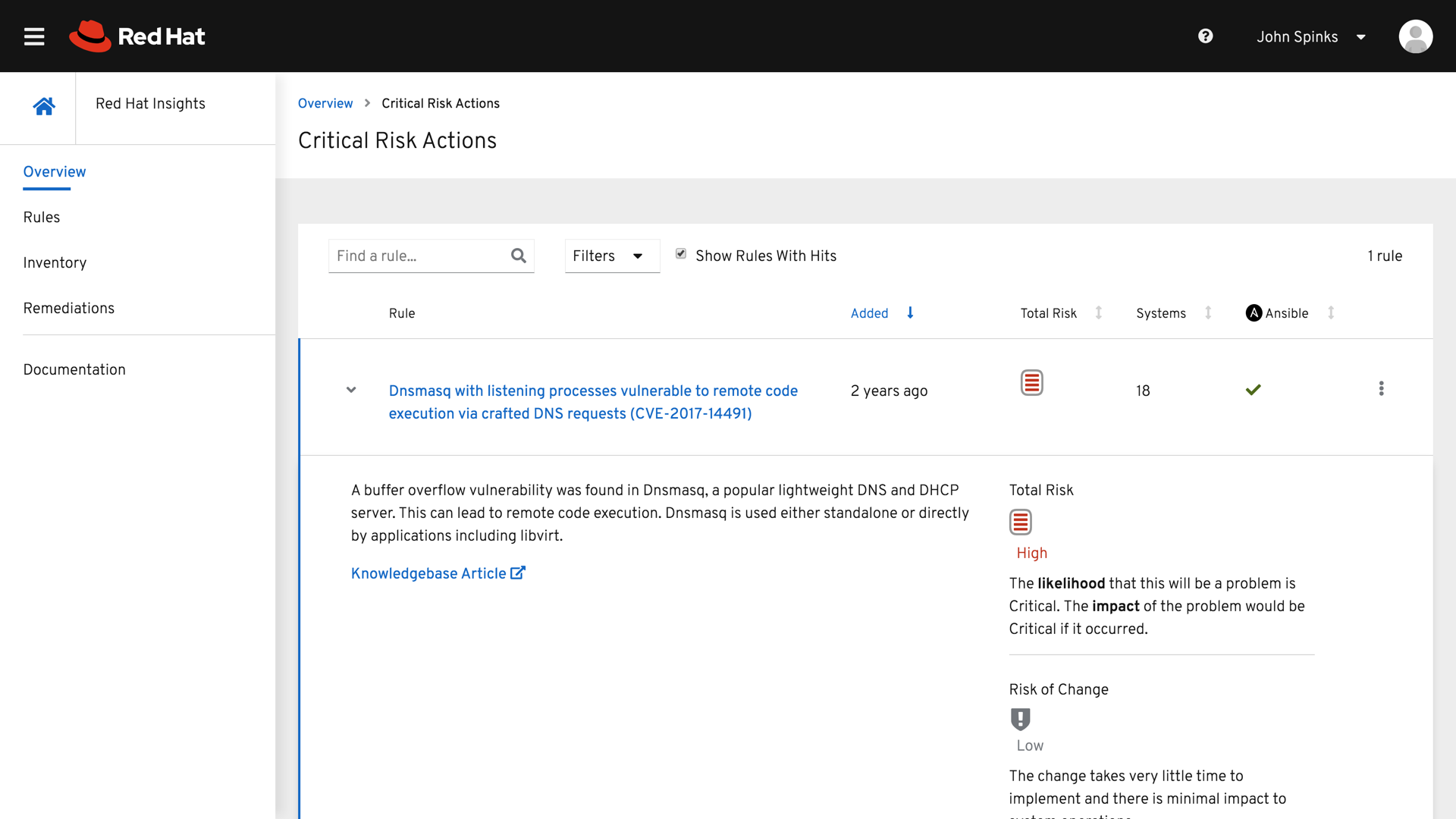 Red Hat Insights Critical Risk Actions page