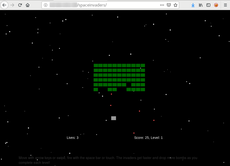 Gameplay for Space Invaders Clone