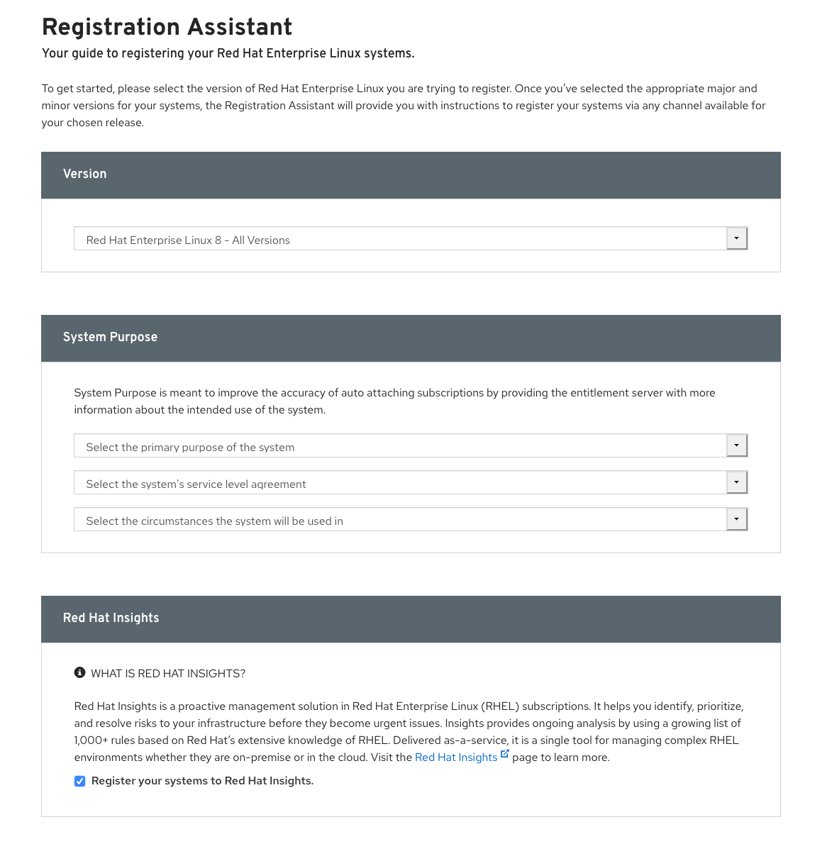 Figure 3: Registration Assistant for Red Hat Enterprise Linux that now includes (bottom) an option to register the Red Hat Insights client.