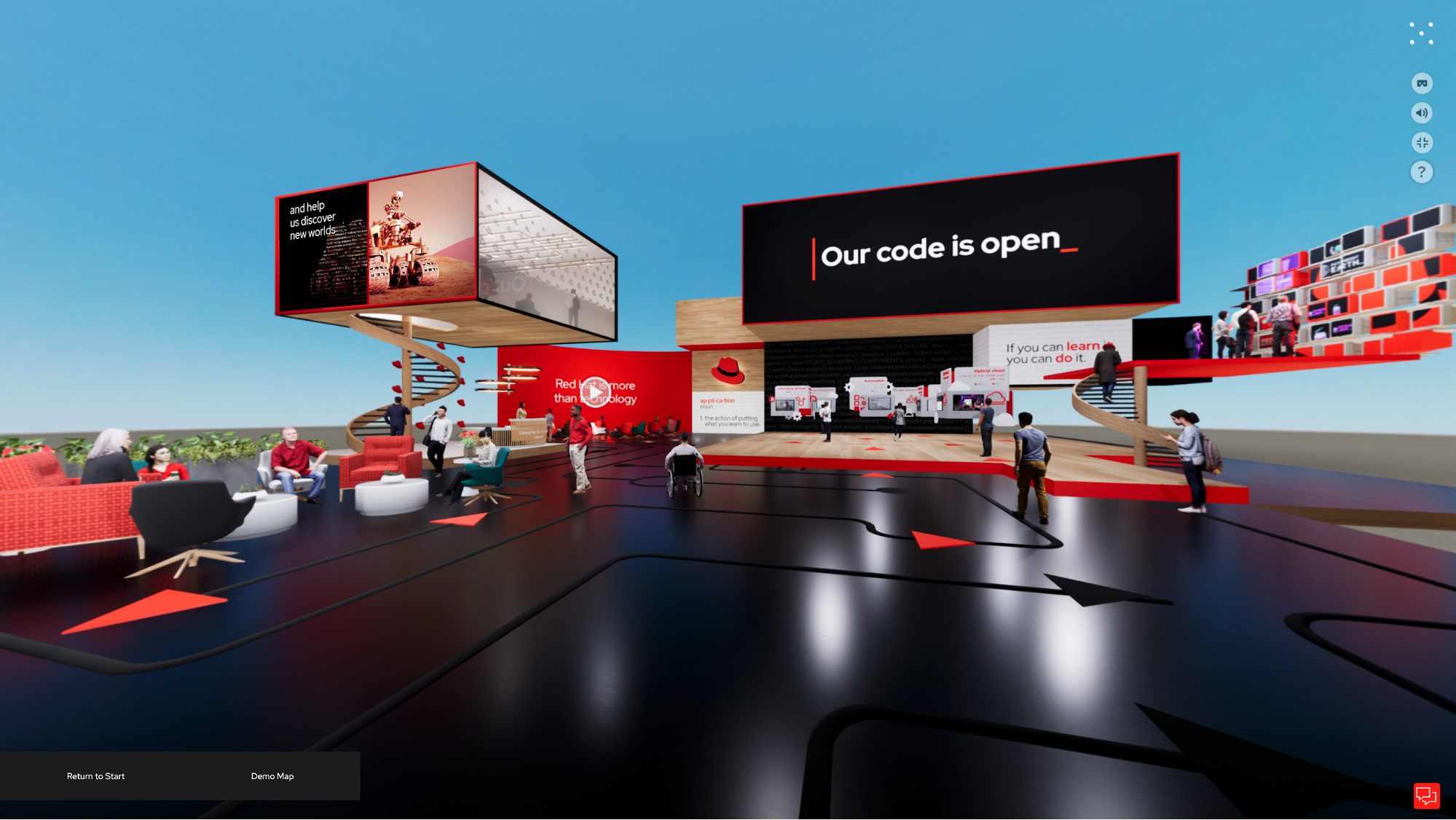 Red Hat virtual pop-up mockup