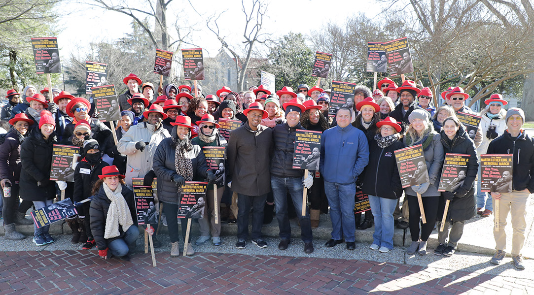 Red Hatters gather before MLK Day March (small)