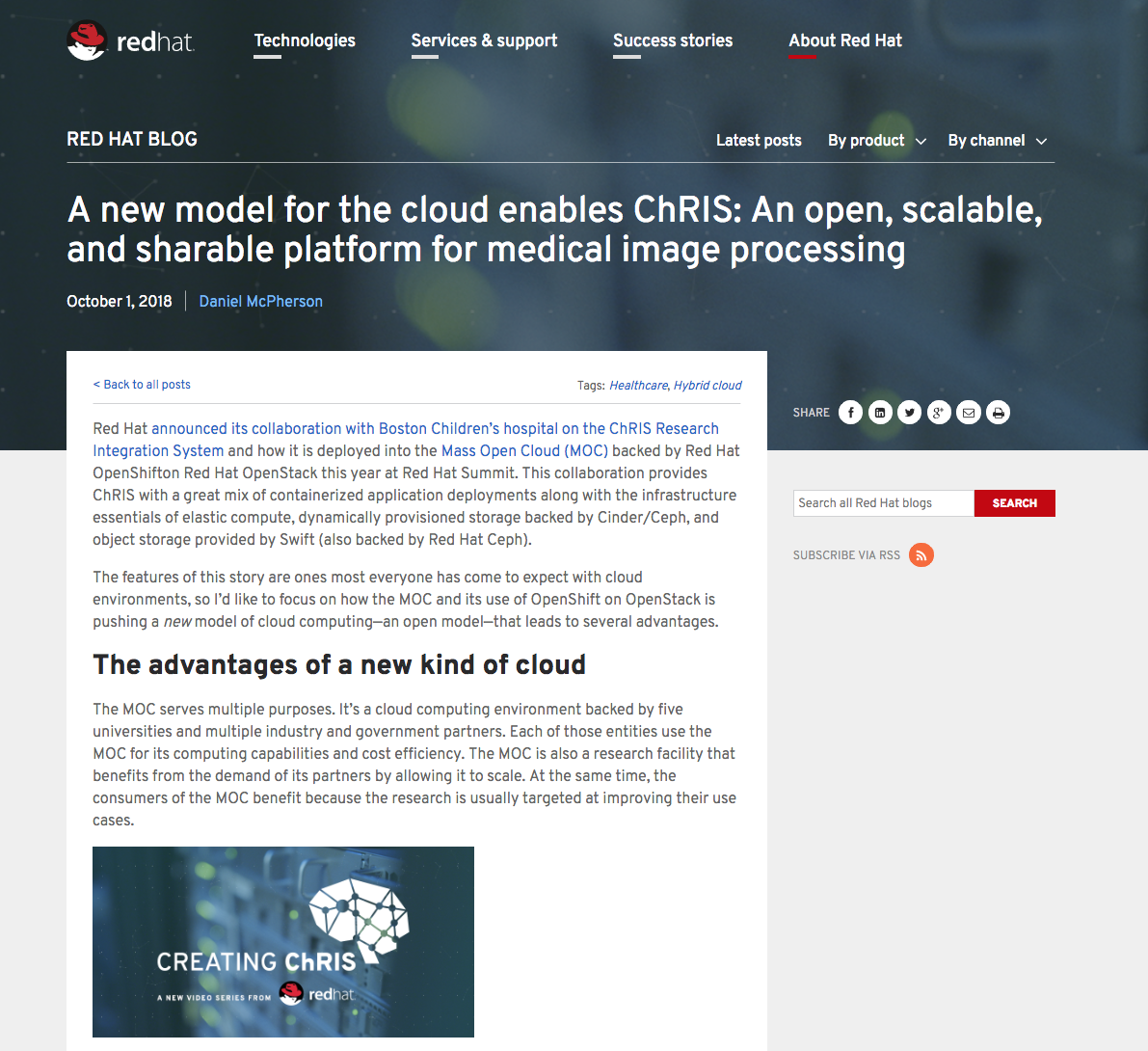 Screenshot from the Red Hat Creating ChRIS blogs