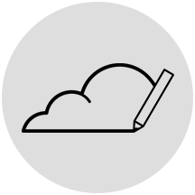 Creating cloud icon on gray circle background