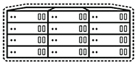 Icon of datacenter wrapped in a dashed stroke representing virtualization