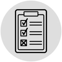 Checklist icon on gray circle background