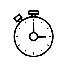 Stopwatch icon on white circle background