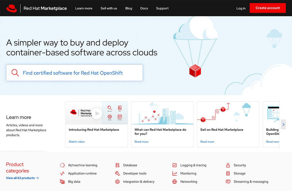 Red Hat Marketplace screenshot