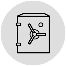 Bank vault icon in gray circle