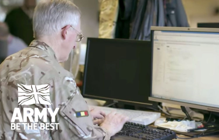 British army officer on computer