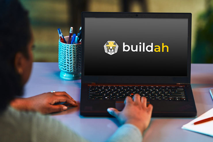 Buildah logo on laptop
