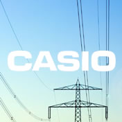Casio logo on image of electrical towers