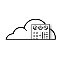 cloud management icon with control panel coming out of cloud