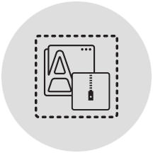 Container library icon in light gray circle