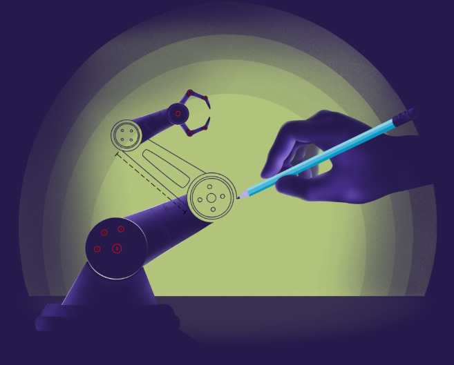 robot arm being drawn by hand
