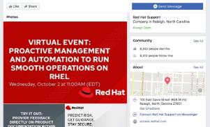 soporte de red hat en facebook