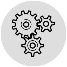 Gears representing automation in gray circle