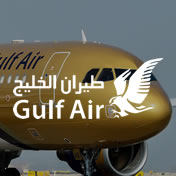 Gulf Air logo on image of plane