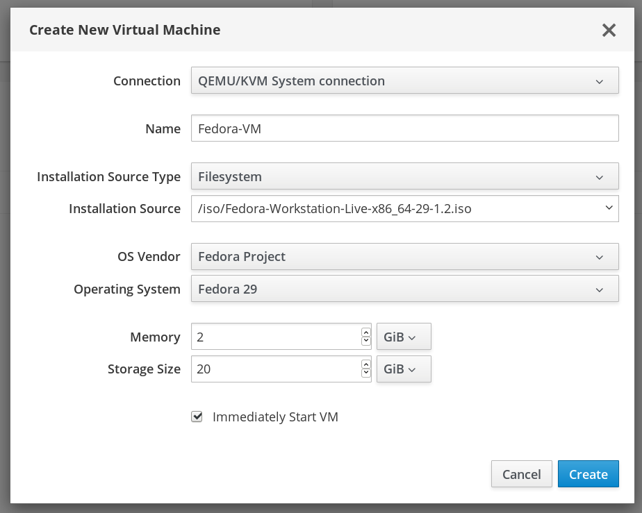 Create New Virtual Machine in Web Console Dialog