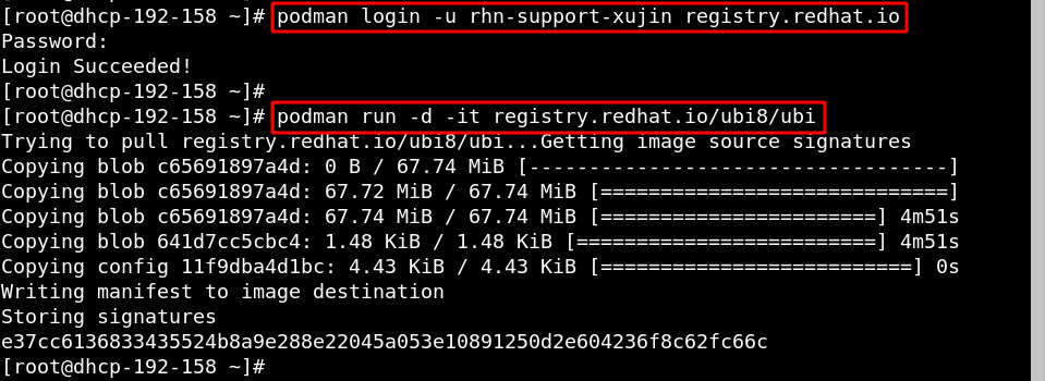 Running podman login and pulling image from registry.redhat.io