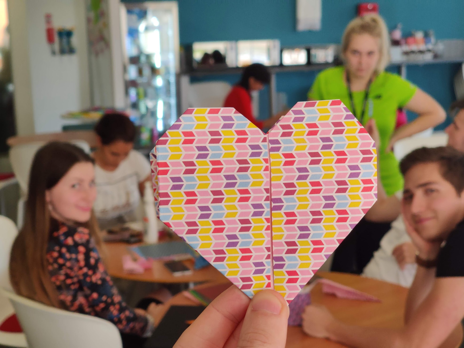 World Mental Health day activity featuring paper heart in foreground