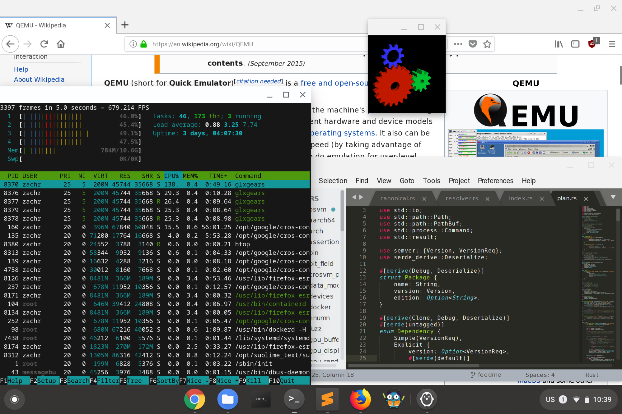 Figure 2: crosvm transparently integrates desktop Linux applications into ChromeOS. Screenshot by Zach Reizner, licensed under Creative Commons Attribution 2.0 Generic License.