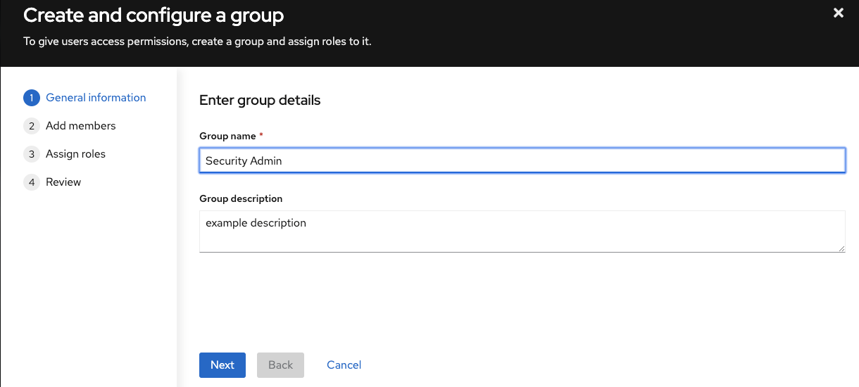 Create and configure group dialog: enter group details