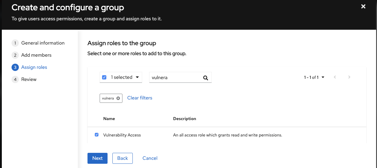 Create and configure group dialog: Assign roles