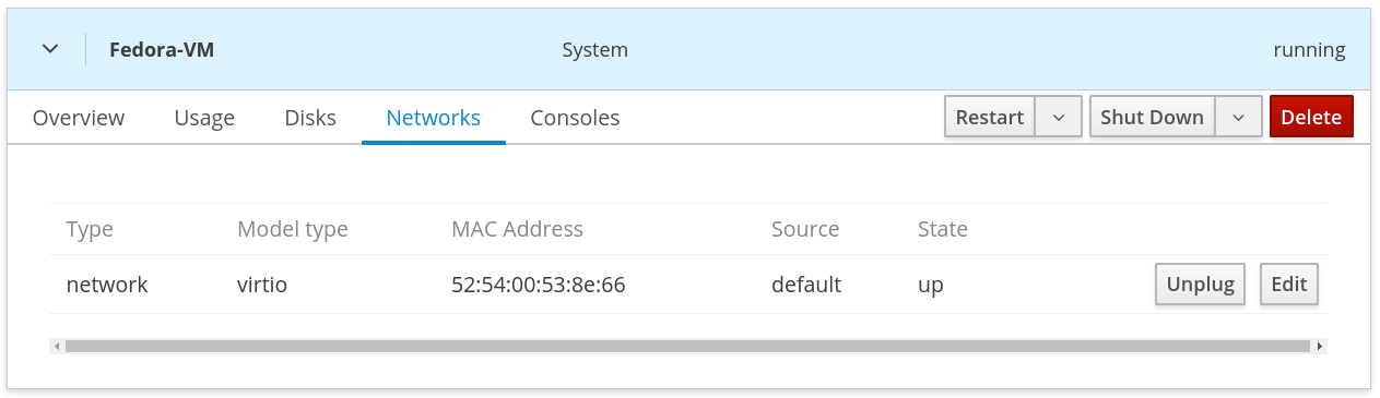 Figure 6: Viewing VM networks in Web Console