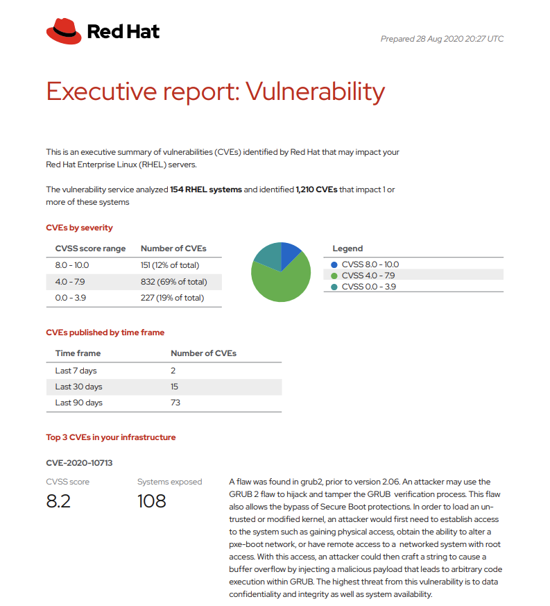 Figure 2. Executive Report generated by the Vulnerability service