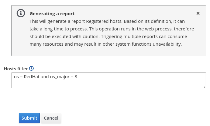 A host filter of os = RedHat and os_major = 8 to limit the report to RHEL 8 hosts