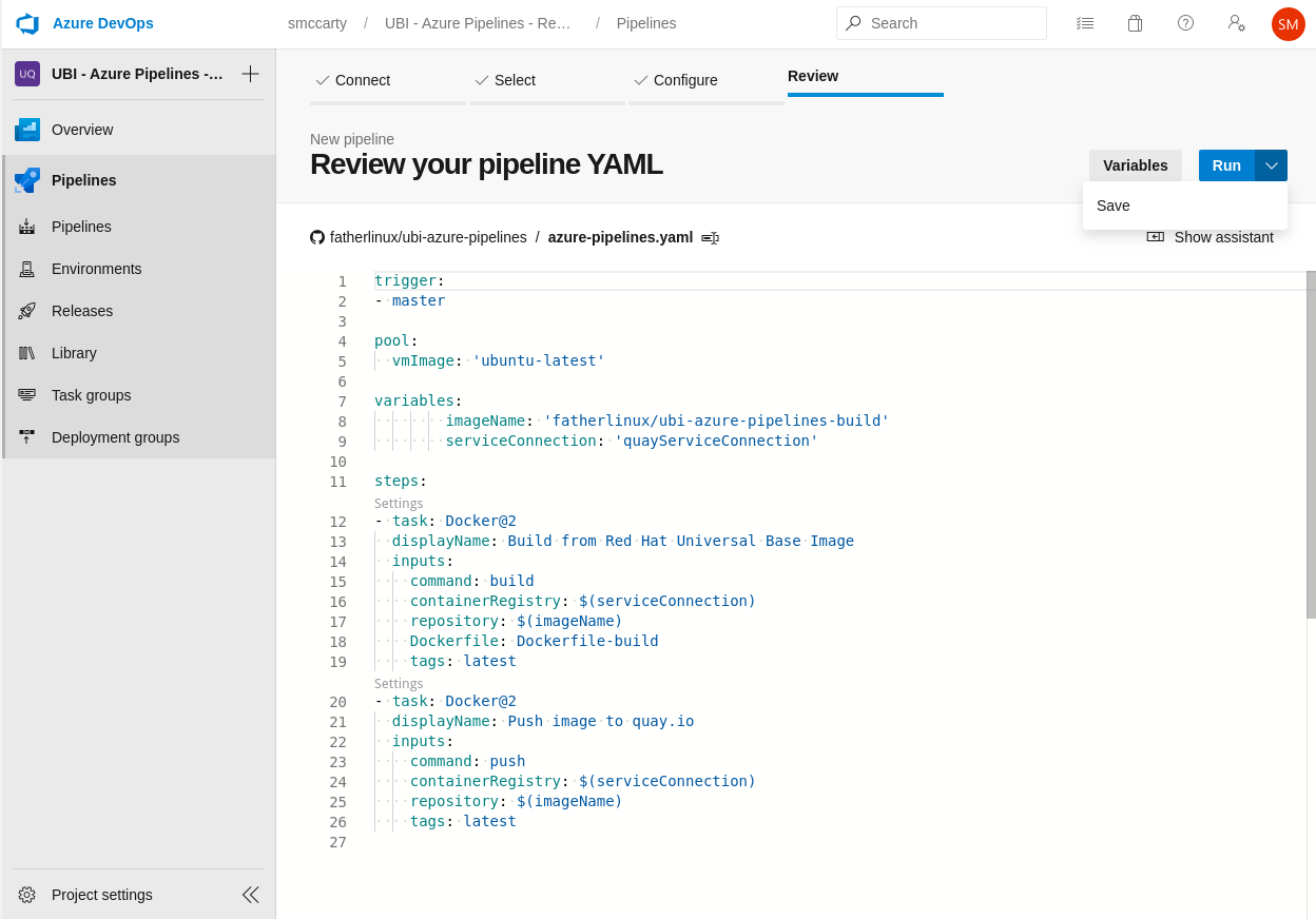 Review pipeline YAML