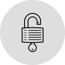 Icon of unlocked lock representing open source
