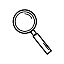 Magnify glass icon in white circle background