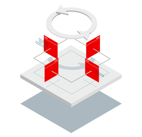 Application Runtimes isometric icon on mobile