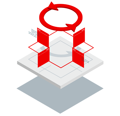 Mobile isometric icon explaining Red Hat Middleware
