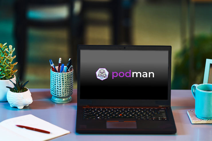 Podman logo on laptop