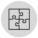 Puzzle icon of pieces fitting together
