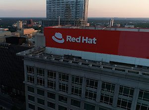 Exterior shot of Red Hat Tower