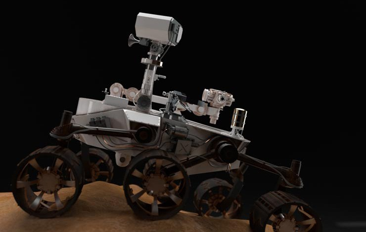 Mars rover on hill