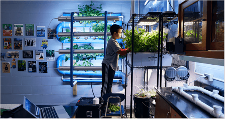 student in lab with plants
