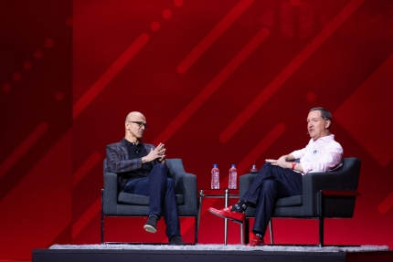 Jim Whitehurst and Satya Nadella