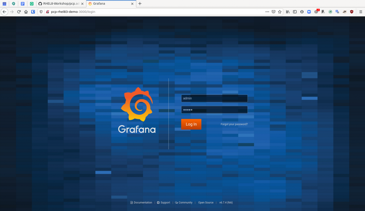 pcp grafana 1 login