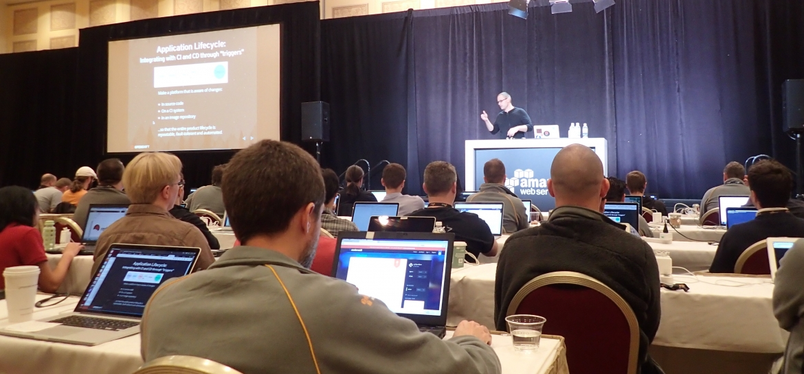 Attendees at AWS re-Invent during the bootcamp