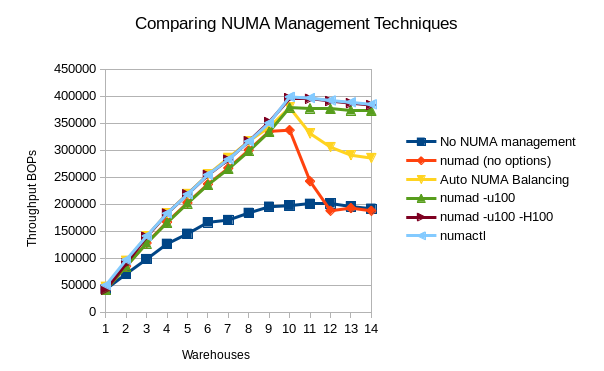 Results of Various NUMA Management Techniques