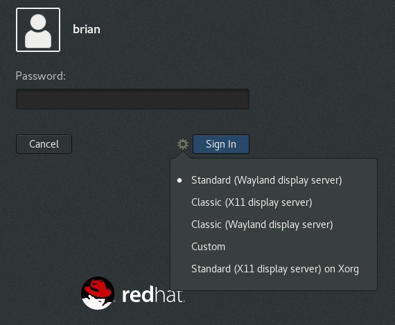 Select the Classic (Wayland display server) GNOME on RHEL 8