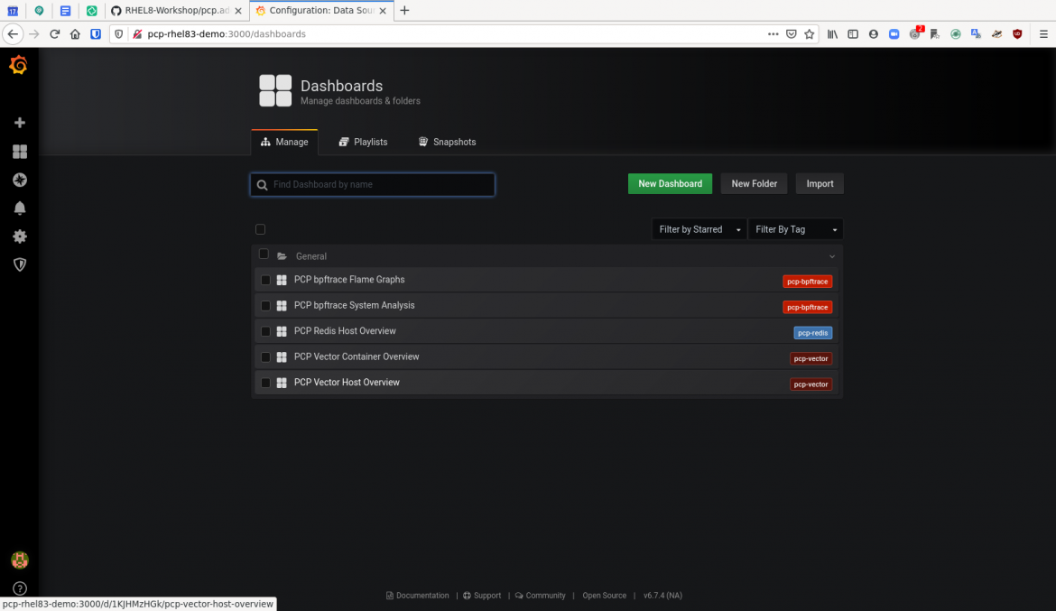pcp grafana 4 dashboard PCP Vector Host Overview
