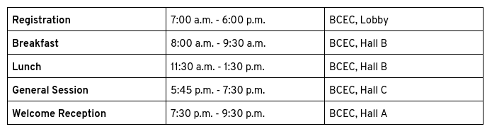 Day one schedule table